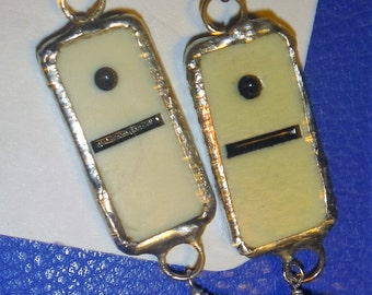 Soldered found objects one and blank domino earrings with iridescent beads