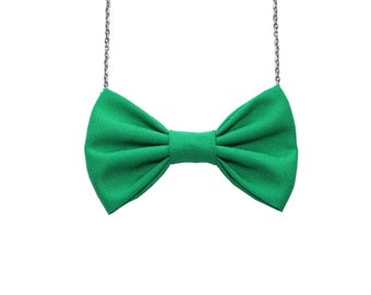 Clover Green Cotton Bow Tie Necklace, Women Bowtie, Spring Easter Bow Necklace, St Patrick's Day Party