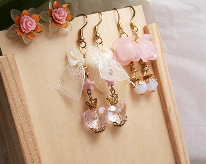 Set of 3 gold plated earring styles (studs/dangles) in pink shades collection