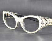 Exquisite Vintage Cat Eye Glasses/Sunglasses, Made by May, Layered with Feather Cutouts, 1950s, 1960s