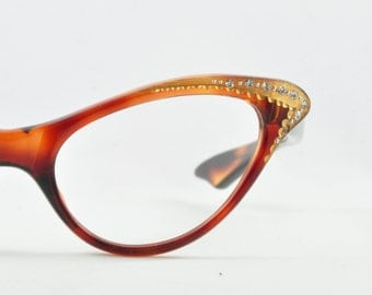 Vintage Cat Eye Glasses, NOS, Tortoise with Gold and Rhinestone Brow, 1950s, 1960s, Frame France