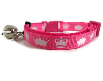 Pink girly cat collar with fish charm and bell. FREE Custom Engraved Tag with every collar.