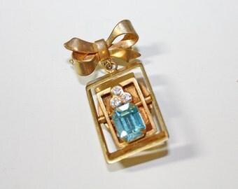 CLEARANCE Aquamarine Vintage Fidget Spinner Brooch Pin