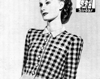 Ladies Check Fair Isle Jumper Blouse Bust 36 Bestway 1418 Vintage 1940s Knitting Pattern Download