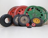 Vintage Toy Wheels Tires for Repair and Alter Art Projects Metal Plastic Differant Sizes and Colors