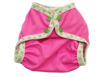One Size Pink Girl Cloth Diaper Cover Ooga Booga Elastic