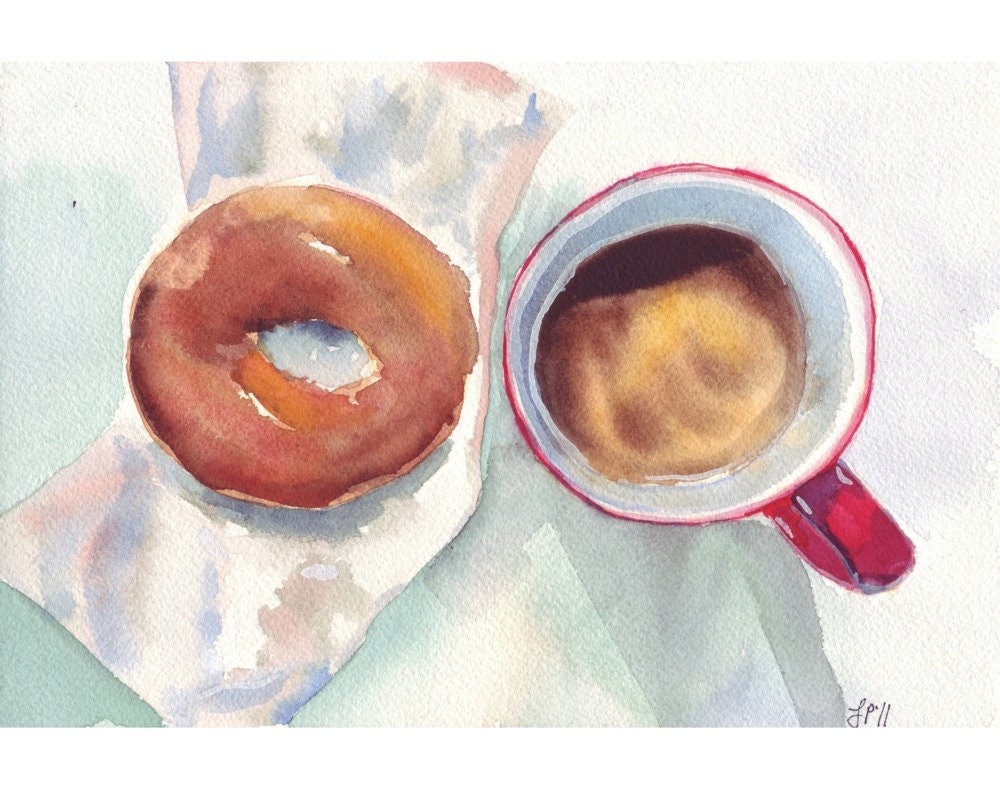 Watercolor painting coffee art red and brown coffee and for Coffee watercolor