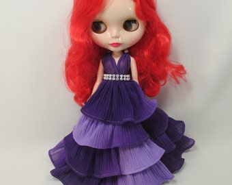 Blythe Outfit Handcrafted two tone pleat long layer dress basaak doll # 950-2