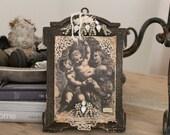 RESERVED 4 Mary M...CHERUBs Art, Antique Book Ephemera art 1914, vintage Rhinestones, tattered lace