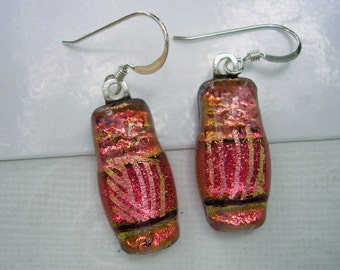 Dichroic Earrings Peachy Pink Sparkle 925 Sterling Silver Earwires Made in U.S.A. Fused Glass Jewelry Dangle Drop Rose Peach Gold Dichro