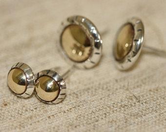 Silver and Gold Stud Earrings, Silver Stud Earrings, Handmade Silver Stud Earrings,Israeli Made Everyday Wear Earrings, Gold Domes Earrings,