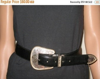 GORGEOUS 80s Rock A Billy Rock Star Punk Rock Grunge Rock  Al Beres Leather Belt  Set with  Engraved Silver Plate With Gold