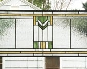 "Prairie School Style Custom 12"" x 28""--Stained Glass Window Panel -"