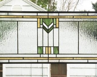 "Prairie School Style 12"" x 28""--Stained Glass Window Panel"