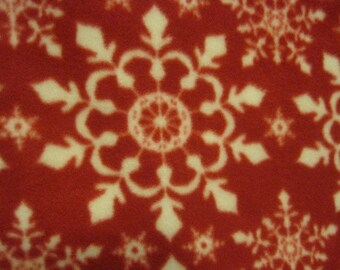 Snow Flakes on Red with Gray Holiday Blanket - Ready to Ship Now