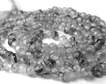 Black Rutilated Quartz Beads - 2mm - Tiny Round Natural Gemstone Beads