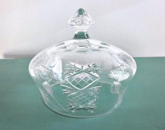 Vintage Engraved Crystal Dome Pineapple Floral Pattern