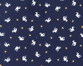 Navy White and Gold Baby Dragon Jersey Knit, Magic By Sarah Jane for Michael Miller Fabrics, Baby Dragons, 1 Yard Jersey KNIT