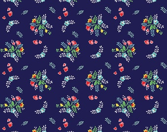 Navy Red and Aqua Vintage Floral Fabric From Riley Blake Vintage Market, 1 Yard Jersey KNIT