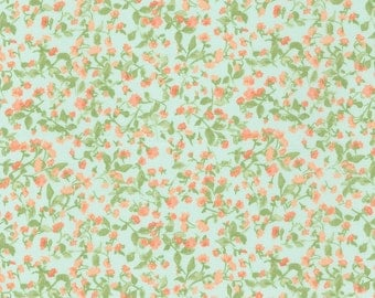Aqua and Coral Petite Retro Floral Cotton Lawn, Woodland Clearing by Liesl Gibson Oliver & S For Robert Kaufman, 1 Yard