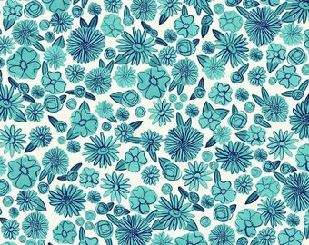 Aqua Navy and White Floral Cotton Lawn Fabric, Hat Box By Alexia Marcelle Abegg for Cotton and Steel, 1 Yard