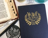 be still and know that i am God journal (large/plain/navy/gold)