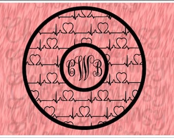 Heartbeats SVG Monogram Circle Design File Circle with Heartbeats SVG Files for Cutting Printing Designing Vector Files