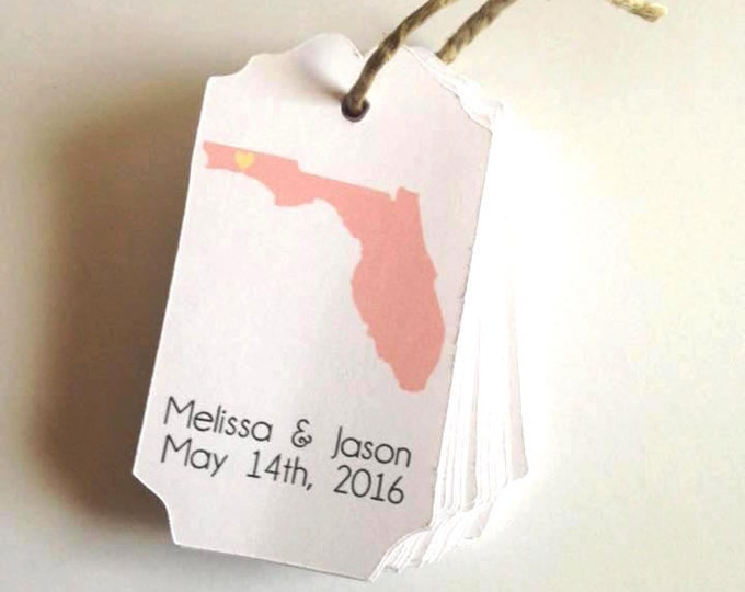 State Tags, Custom, Welcome Tags, State Gift Tags,Hang Tags, Wedding Favor Tags, custom tags, destin florida, florida wedding, beach