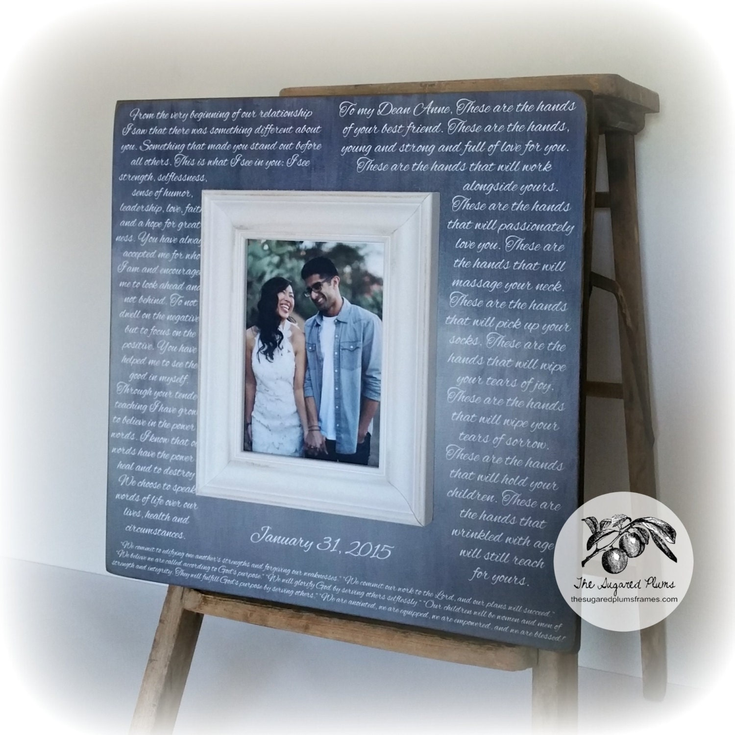 1st Wedding Anniversary Gift Wedding Vows Wedding Vows Framed Wedding Vow