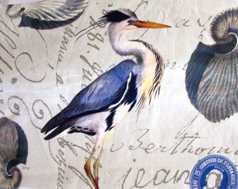 Blue Heron by Design Legacy screenprint fabric