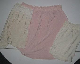 3 Olga Lingerie 2 Pantaloons Bloomers 1 Slip Lace Size M L Short 1980s