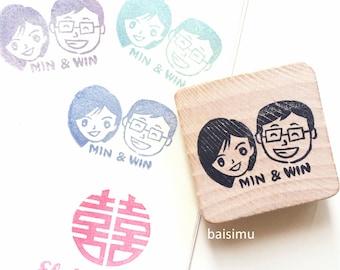 Customized couple cartoon caricature rubber stamp