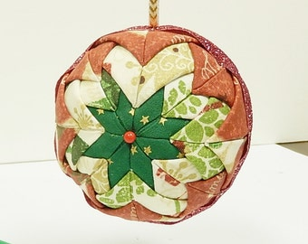 Quilted Christmas Tree Ball Ornament
