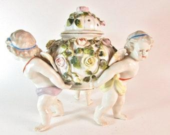 Antique Von Schierholz Dresden Porcelain Cherub Center Bowl - Handpainted Von Schierholz German Porcelain Putti Held Covered Urn