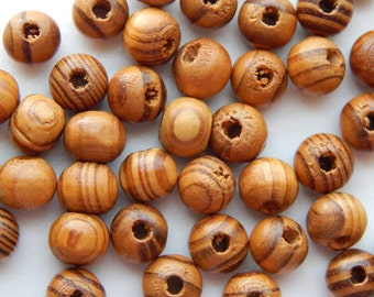 50 Pieces of Wood Jewelry Beads - 10mm Round, Burley, Brown Striped Color, Treated for Finish, Slight Size Variations, Light, 2-3mm Hole