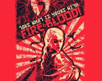 Daenerys Shirt. Jon & Dany! Game of Thrones Shirt. Khaleesi Shirt. Mother of Dragons Shirt.  Fire and Blood! Ice and Fire. Targaryen Shirt.