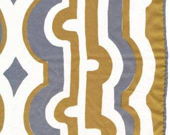 Abstract Vera Long Scarf  white gray gold silk