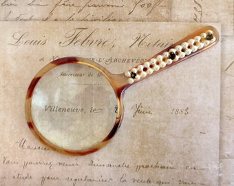 Small Magnifying Glass, Hand Held, Faux Tortoise Shell and Pearls