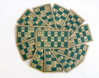 12 Vintage Green Lotto Cards, French Loto or Bingo