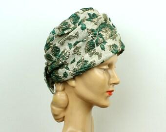 vintage turban 1960s metallic gold & green hat