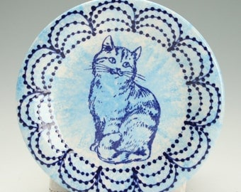 "Cat on Small Ceramic Plate, Cat and Designs in Aqua, Dark Delft Navy Blue and White Decorative Dinnerware, 6"" Plate"