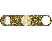 Personalized Beer Bottle Opener 3 Letter Monogram Gold Glitter 21st Birthday Bridesmaid Favor Barware Stainless Steel Bar Blade BO-1063