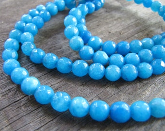 6mm JADE Beads in Azure Blue, Faceted, Round, 1 Strand, Approx 60 Beads, Gemstones, Blue Stone Beads
