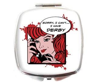 Roller Derby Compact Mirror - Roller Derby pin-up mirror - Roller Girl Mirror - Roller Derby Gift - Roller Girl Gift - Roller Derby Geek