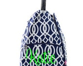 Navy and White Vine design Tennis bag tote Backpack style Personalized for FREE