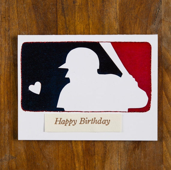 Baseball birthday card National Baseball league logo blue red
