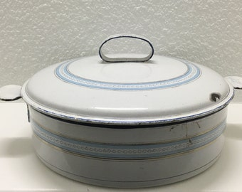 Antique Graniteware Enamelware Pan with Lid, Blue and White