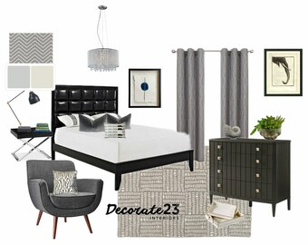 Bedroom Interior Design, E-Interior Design, Online Interior Design, Home Decor, Affordable Interior Design Service, Mood Board