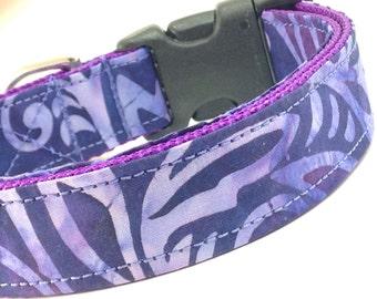 Custom Dog Collar - Purple Vines Collar - Deep Purple with Lilac leaves flowers vines - Batik Dog Collar