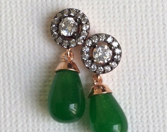 FREE SHIPPING Edwardian vintage antique inspired Earring  green drop sterling gold